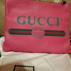 Gucci hot pink large clutch